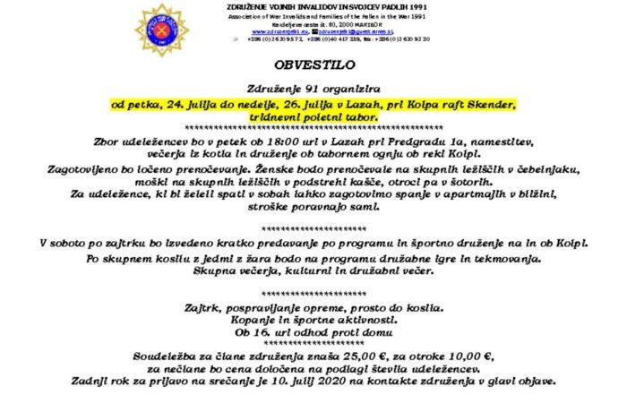 thumbnail of Obvestilo – Kolpa 2020